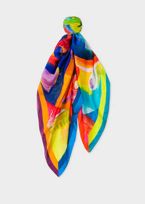 Paul Smith Women's Abstract 'Paint Brush Pot' Painted Print Silk Scarf