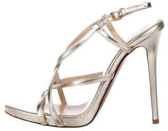 Halston Metallic Leather Sandals