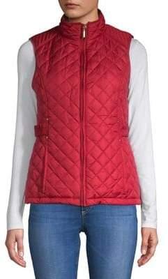 Weatherproof Faux Fur Lined Tabbed Quilt Vest