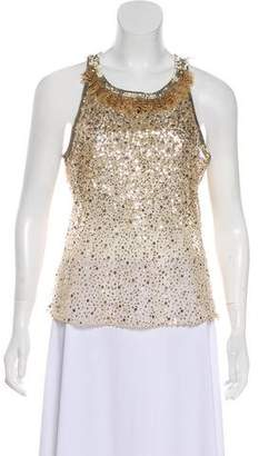 Oscar de la Renta Feather-Accented Sequined Top
