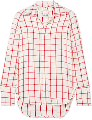 Monse Snap-sleeved Windowpane Canvas Shirt - Red