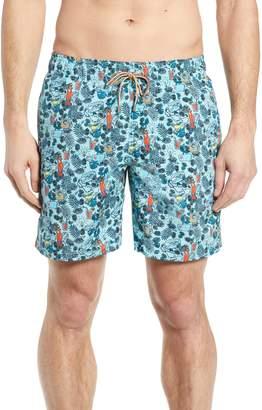 Bugatchi Print Swim Trunks