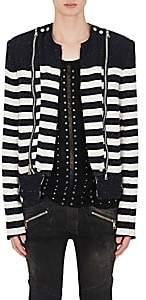 Balmain Men's Striped Cotton-Blend Bouclé Biker Jacket - Navy
