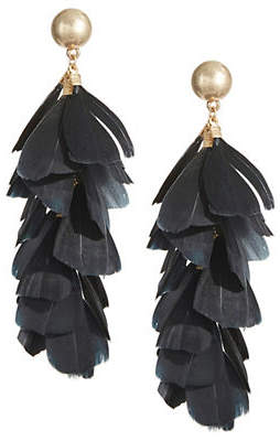 DESIGN LAB Cascading Feather Drop Earrings