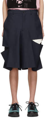 Comme des Garcons Navy Wool Cut-Out Shorts