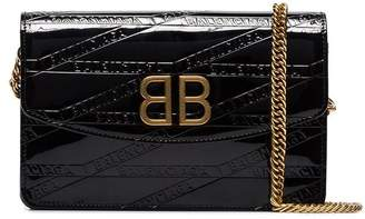 Balenciaga black embossed branding patent leather cross body bag