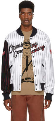 Opening Ceremony White OC Pinstripe Baseball Jacket
