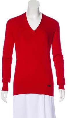 Burberry V-Neck Silk-Blend Sweater