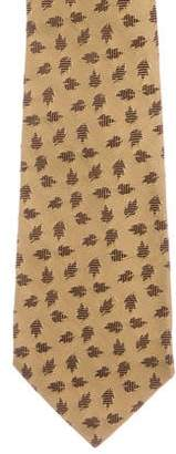 Salvatore Ferragamo Leaf Patterned Silk Tie