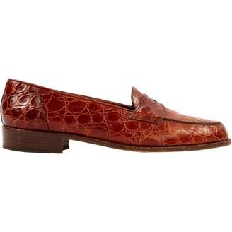 Fratelli Rossetti Brown Crocodile Flats