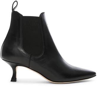 Manolo Blahnik Leather Chelsa 50 Boots in Black | FWRD