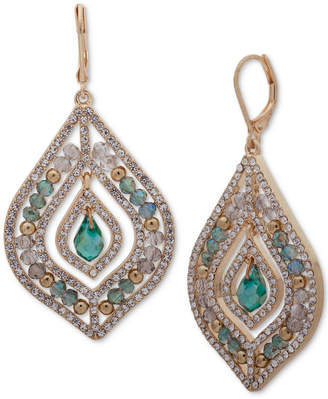 lonna & lilly Gold-Tone Green Stone Beaded Chandelier Earrings