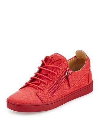 Giuseppe Zanotti Breks Snake-Embossed Side-Zip Sneaker, Red $675 thestylecure.com