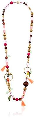 "Betsey Johnson Tropical Punch"" Mixed Beaded Long Station Necklace"