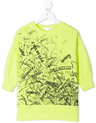 Burberry TEEN Doodle Print Cotton Jersey Sweater Dress