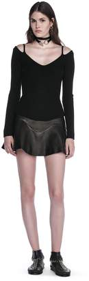 Alexander Wang High Waisted Leather Mini Skirt