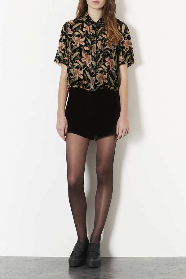 Topshop Velvet Trim Shorts