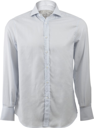 Brunello Cucinelli Window Pane Spread Collar Shirt