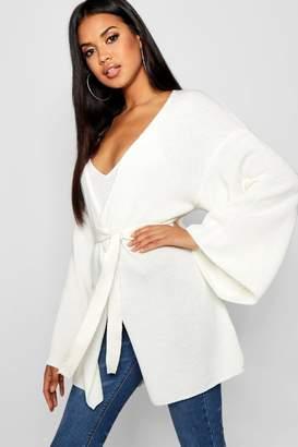 boohoo Kimono Belted Wrap Cardigan