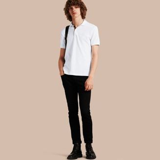 Burberry Check Placket Cotton Piqué Polo Shirt $175 thestylecure.com