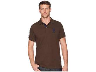U.S. Polo Assn. Slim Fit Solid Polo w/ Contrast Striped Underside of Collar Men's Short Sleeve Knit