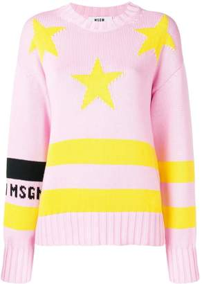 MSGM stripe star detail sweater