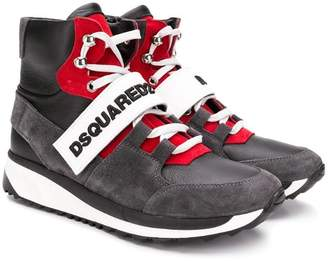 DSQUARED2 TEEN logo touch strap hi-top sneakers