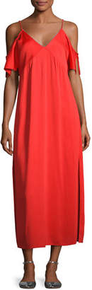 Alexander Wang Stretch Crepe Cold-Shoulder Midi Dress, Scarlet