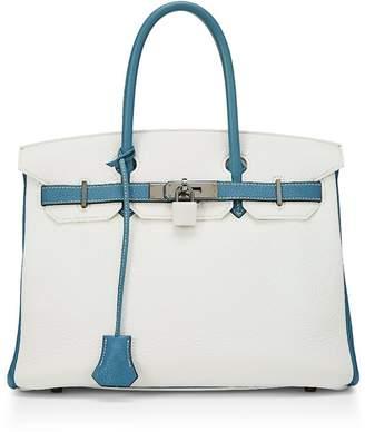 Hermes White & Azur Clemence Birkin 30