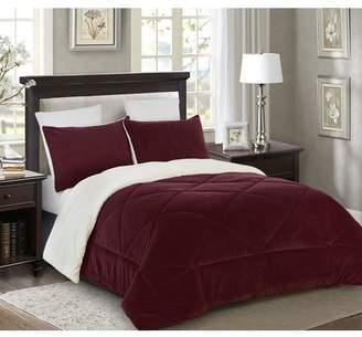Lorient Home Reversible 3 piece Fleece/Sherpa Down Alternative Comforter set - Full/Queen - Burgundy