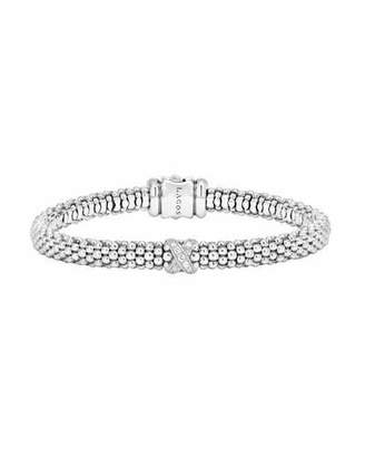 Lagos Silver Caviar Diamond X Bracelet, 6 mm