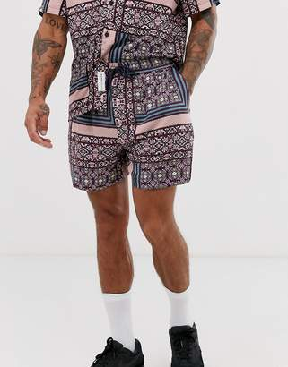 NATIVE YOUTH CO-ORD short with patchwork geo print in purple