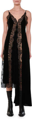 Stella McCartney V-Neck Sleeveless Velvet Lace A-Line Midi Cocktail Dress with Asymmetric Hem