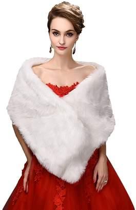 Snowskite Winter Warm Faux Fur Imitation Bride Wedding Shawl Wraps Coat