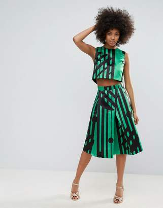 Co Horrockses Midi Skirt In Multi Print Ord