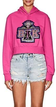 Balmain for Beyoncé Women's Embellished Cotton Terry Crop Hoodie - Fushia