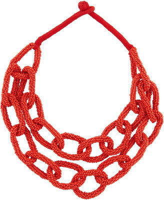 Berry Jewelry Double-Row Beaded Link Statement Necklace, Red $30 thestylecure.com