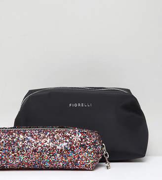 Fiorelli Adaline black makeup bag with multi glitter brush bag