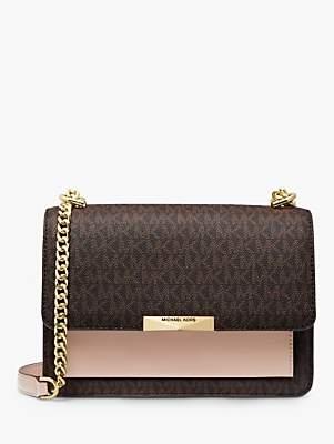 Michael Kors MICHAEL Jade Large Gusset Logo Leather Shoulder Bag, Brown/Soft Pink