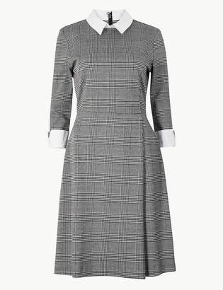 Marks and Spencer Checked Midi Fit and Flare Dress