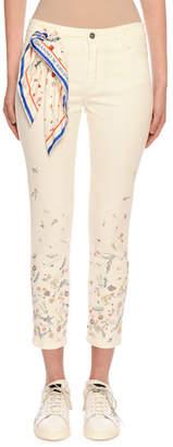 Ermanno Scervino Floral-Embellished Crop Jeans