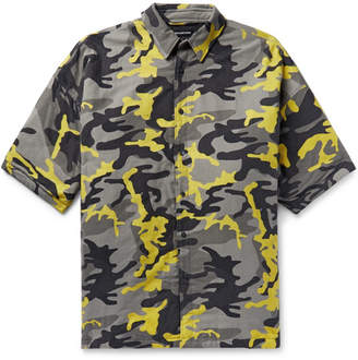 Balenciaga Oversized Camouflage-Print Brushed Cotton-Twill Shirt