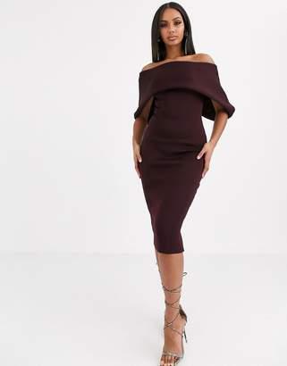 Bardot Asos Design ASOS DESIGN fold front midi pencil dress