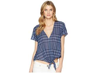 Lucky Brand Plaid Tie Top Women's Short Sleeve Pullover