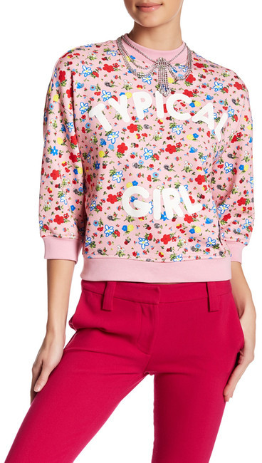 Love MoschinoLOVE Moschino Typical Girl Floral Pattern Grommet Detail Pullover