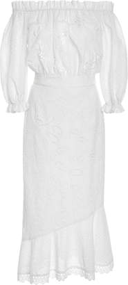 Saloni Broderie Anglaise Cotton Dress $650 thestylecure.com