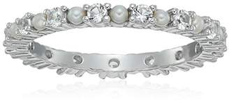 Sterling Silver Freshwater Cultured Pearl and Created Sapphire Alternating Eternity Ring
