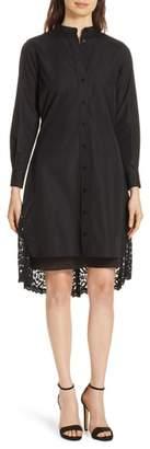 Diane von Furstenberg Lace Back Cotton Poplin Shirtdress