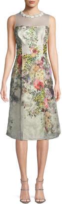 Rickie Freeman For Teri Jon Floral Jacquard Sleeveless Dress w/ Illusion Neck