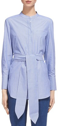 Whistles Lara Belted Pinstripe Shirt $180 thestylecure.com